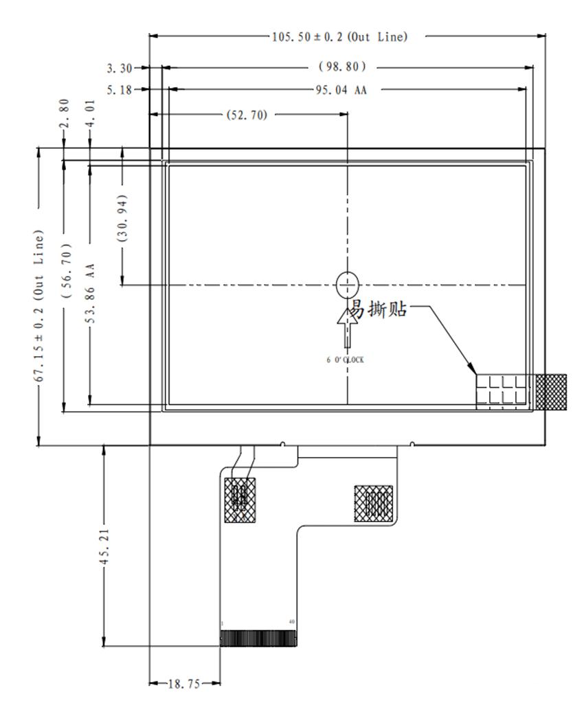 نمایشگر گرافیکی 4.3 اینچی MQ043001-24